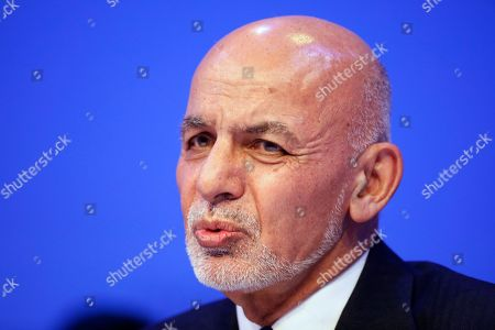 Former Afghan President Hamid Karzai takes part in a discussion at the World Economic Forum in Davos, Switzerland, . The 50th annual meeting of the forum is taking place in Davos from Jan. 21 until Jan. 24, 2020