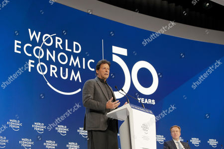 Stock Picture of Pakistan's Prime Minister Imran Khan addresses the World Economic Forum as as President Borge Brende, right, listens in Davos, Switzerland, . The 50th annual meeting of the forum is taking place in Davos from Jan. 21 until Jan. 24, 2020