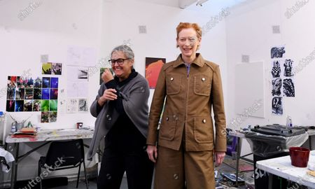 Tilda Swinton (R) and Tacita Dean (L) pose for portraits during a photocall in London, Britain, 22 January 2020. Artists have gathered to launch an Art Fund campaign to save the home of  filmmaker Derek Jarman. The appeal is 3.5 million GBP is aiming to save Prospect Cottage, the home and garden of the visionary filmmaker.
