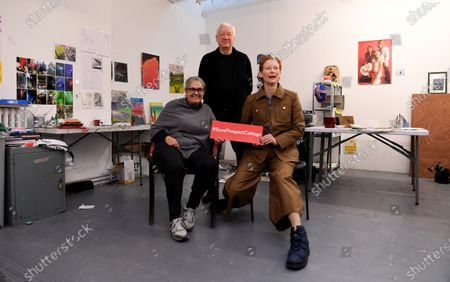 Tilda Swinton (R) and Tacita Dean (L) and  Michael Craig-Martin (C) pose for portraits during a photocall in London, Britain, 22 January 2020. Artists have gathered to launch an Art Fund campaign to save the home of  filmmaker Derek Jarman. The appeal is 3.5 million GBP is aiming to save Prospect Cottage, the home and garden of the visionary filmmaker.
