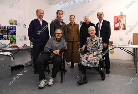 Chief Executive of Creative Folkstone, Alaistair Upton, British artist Jeremy Deller, British Artist, Tacita Dean, British artist, Tilda Swindon, British Artist Michael Craig Martin, Director of Tate, Maria Balshaw and Director of Tate, Stephen Deuchar pose for portraits during a photocall in London, Britain, 22 January 2020. Artists have gathered to launch an Art Fund campaign to save the home of  filmmaker Derek Jarman. The appeal is 3.5 million GBP is aiming to save Prospect Cottage, the home and garden of the visionary filmmaker.