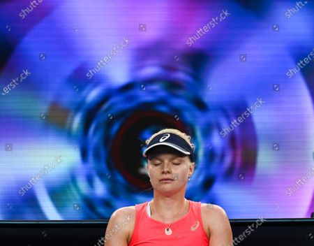 Harriet Dart looks dejected during her Women's Singles Second Round match
