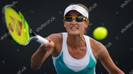 Arina Rodionova of Australia in action during her second round match at the 2020 Australian Open Grand Slam tennis tournament
