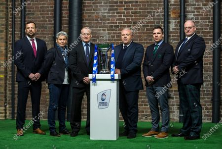 Women's Coaches  Chris Horsman of Wales, Annick Hayraud of France, Simon Middleton of England, Andrea Di Giandomenico of Italy, Adam Griggs of Ireland and Phillip Doyle of Scotland during the 2020 Guinness Six Nations Launch at Tobacco Dock, London.
