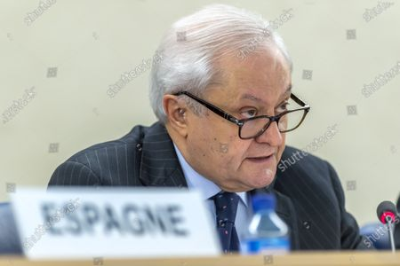 Fernando Valenzuela Marzo, Secretary of State for Foreign Affairs of Spain, presents his report, during a session of the Human Rights Council 35th session of the UPR Working Group, at the European headquarters of the United Nations (UNOG) in Geneva, Switzerland, 22 January 2020.