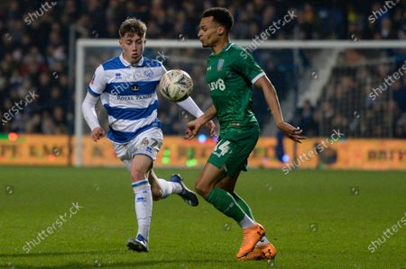 Jack Clarke of Queens Park Rangers and Jacob Murphy of Sheffield Wednesday in action during FA Cup fourth round match between Queens Park Rangers and Sheffield Wednesday at The Kiyan Prince Foundation Stadium in London, UK - 24th January 2020
