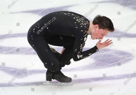 Alexander Lebedev of Belarus competes in the Men short program of the ISU European Figure Skating Championships in Graz, Austria,  22 January 2020.