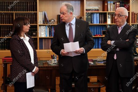 President of the Greek Parliament Konstantinos Tasoulas (C) and vice President Nikitas Kaklamanis (R) announce to Katerina Sakellaropoulou (L), President of Council of State, the result of a voting in the parliament for the election of the new President of the Greek Republic, in Athens, Greece, 22 January 2020. Katerina Sakellaropoulou was elected with a parliamentary voting as the new President of the Republic, the first female President in the Greek history.