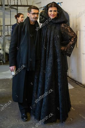 Stock Image of French designer Franck Sorbier (L) and Clemence Faivre Luraschi (R)  participate at the Spring/Summer 2020 Haute Couture collection of  for Franck Sorbier fashion house during the Paris Fashion Week, in Paris, France, 22 January 2020. The presentation of the Haute Couture collections runs from 20 to 23 January.