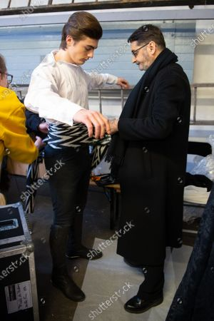 Marco Luraschi (L) andFrench designer Franck Sorbier (R) participate at the Spring/Summer 2020 Haute Couture collection of  for Franck Sorbier fashion house during the Paris Fashion Week, in Paris, France, 22 January 2020. The presentation of the Haute Couture collections runs from 20 to 23 January.