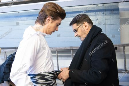 Marco Luraschi (L) and French designer Franck Sorbier (R) participate at the Spring/Summer 2020 Haute Couture collection of  for Franck Sorbier fashion house during the Paris Fashion Week, in Paris, France, 22 January 2020. The presentation of the Haute Couture collections runs from 20 to 23 January.