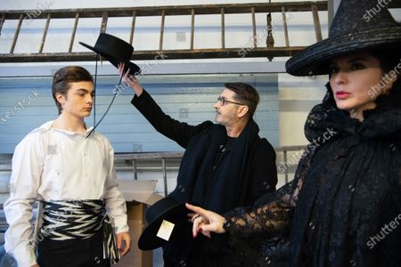 Marco Luraschi (L), French designer Franck Sorbier (C),  and Clemence Faivre Luraschi (R) participate at the Spring/Summer 2020 Haute Couture collection of  for Franck Sorbier fashion house during the Paris Fashion Week, in Paris, France, 22 January 2020. The presentation of the Haute Couture collections runs from 20 to 23 January.