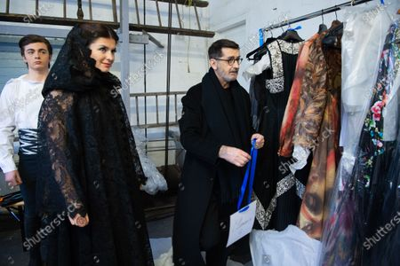 Marco Luraschi (L), French designer Franck Sorbier (R),  and Clemence Faivre Luraschi (C) participate at the Spring/Summer 2020 Haute Couture collection of  for Franck Sorbier fashion house during the Paris Fashion Week, in Paris, France, 22 January 2020. The presentation of the Haute Couture collections runs from 20 to 23 January.