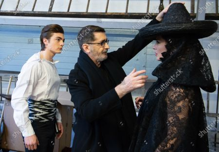 Stock Picture of Marco Luraschi (L), French designer Franck Sorbier (C),  and Clemence Faivre Luraschi (R) participate at the Spring/Summer 2020 Haute Couture collection of  for Franck Sorbier fashion house during the Paris Fashion Week, in Paris, France, 22 January 2020. The presentation of the Haute Couture collections runs from 20 to 23 January.