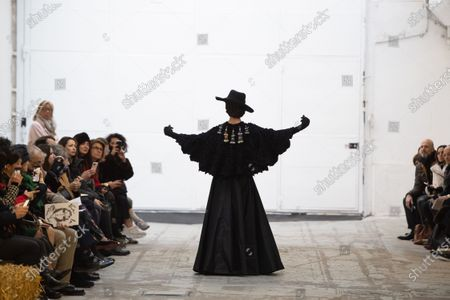 A model presents a creation from the Spring/Summer 2020 Haute Couture collection of French designer Franck Sorbier for Franck Sorbier fashion house during the Paris Fashion Week, in Paris, France, 22 January 2020. The presentation of the Haute Couture collections runs from 20 to 23 January.