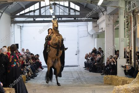 A horse by Marco Luraschi, Italian equestrian stuntman and trainer, and Clemence Faivre Luraschi participate at the Spring/Summer 2020 Haute Couture collection of French designer Franck Sorbier for Franck Sorbier fashion house during the Paris Fashion Week, in Paris, France, 22 January 2020. The presentation of the Haute Couture collections runs from 20 to 23 January.