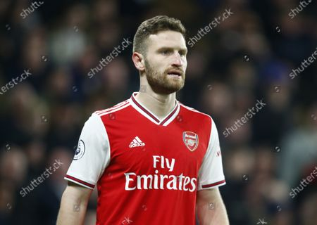 Shkodran Mustafi of Arsenal during English Premier League between Chelsea and Arsenal at Stanford Bridge Stadium , London, England on 21 20 (Photo by AFS/Espa-Images)