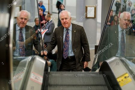 Republican Senator from Texas John Cornyn in the Senate subway of the US Capitol in Washington, DC, USA, 22 January 2020. House Democrats will make their case for removing President Trump during the first day of opening arguments in the impeachment trial of US President Donald J. Trump.