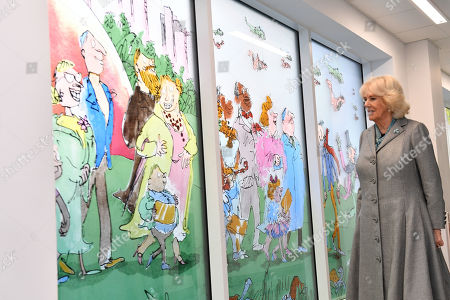 Camilla Duchess of Cornwall during a visit to Birmingham Children's Hospital. The hospital and its charity has teamed with Sir Quentin Blake and Felicity Dahl, (wife of the late author, Roald Dahl) to create a stained-glass window installation featuring some of Dahl's most famous characters. There are 9 panels in total showing some of Dahl's most famous children's characters.