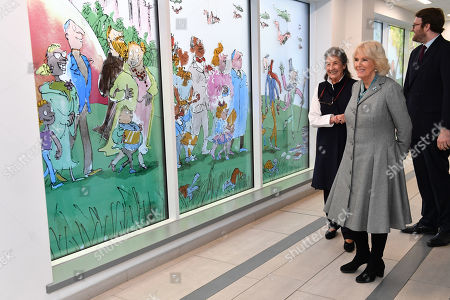 Camilla Duchess of Cornwall with Felicity Dahl (left) during a visit to Birmingham Children's Hospital. The hospital and its charity has teamed with Sir Quentin Blake and Felicity Dahl, (wife of the late author, Roald Dahl) to create a stained-glass window installation featuring some of Dahl's most famous characters. There are 9 panels in total showing some of Dahl's most famous children's characters.