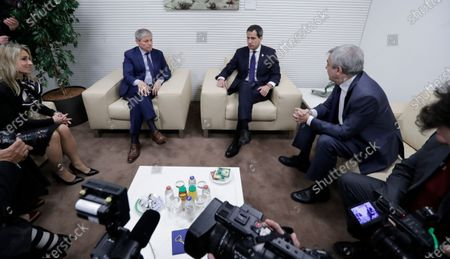 Dacian Ciolos (2-L) the president of Renew Europe Group at European Parliament welcomes Juan Guaido (2-R), President of the National Assembly of Venezuela, prior to a meeting at EU Parliament in Brussels, Belgium, 22 January 2020.