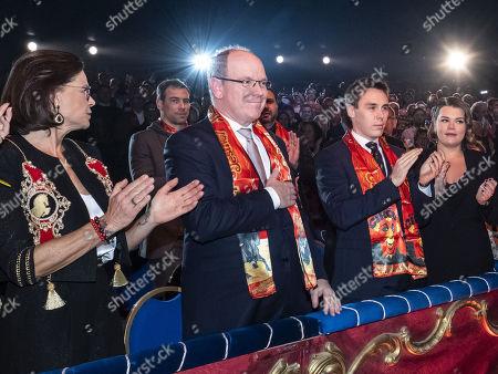 Pauline Ducruet, Princess Stephanie of Monaco, Prince Albert II of Monaco, Louis Ducruet and Camille Marie Kelly Gottlieb attend the 44th International Circus Festival
