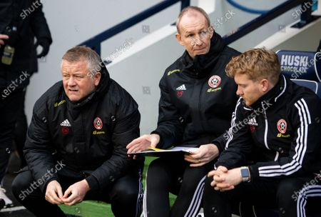 Chris Wilder manager of Sheffield United (l) and his assistant Alan Knill