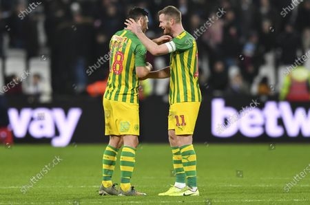 Gareth Barry of West Bromwich Albion and Chris Brunt of West Bromwich Albion at the final whistle