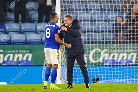 Leicester City Manager Brendan Rodgers celebrates at full time with Leicester City midfielder Youri Tielemans (8) during the Premier League match between Leicester City and West Ham United at the King Power Stadium, Leicester