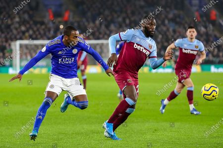 West Ham United defender Arthur Masuaku (26) tussles with Leicester City defender Ricardo Pereira (21) during the Premier League match between Leicester City and West Ham United at the King Power Stadium, Leicester