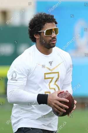 NFC quarterback Russell Wilson of the Seattle Seahawks is seen at the 2020 Pro Bowl Skills Showdown, in Kissimmee, Fla. The event will be broadcast tomorrow at 9pm ET on ESPN