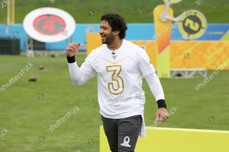 NFC quarterback Russell Wilson is seen after competing in Precision Passing at the 2020 Pro Bowl Skills Showdown, in Kissimmee, Fla. The event will be broadcast tomorrow at 9pm ET on ESPN