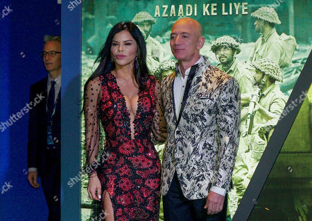 Jeffrey P Bezos, Founder, CEO and President of Amazon along with Emmy Award-nominated American news anchor Lauren Sanchez at an Amazon event at Grand Hyatt