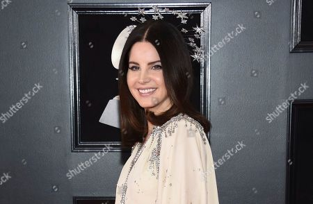 "Lana Del Rey at the 60th annual Grammy Awards in New York. Del Ray is a multiple Grammy nominee this year with nods for Album of the year for ""When We All Fall Asleep, Where Do We Go?,"" and song of the year for ""Someone You Loved,"" with Jack Antonoff"