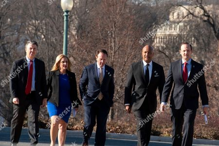 Steve Marshall, Leslie Rutledge, Jeff Landry, Curtis Hill, Alan Wilson. States Attorneys General, from left; Steve Marshall, Ala., Leslie Rutledge, Ark., Jeff Landry, La., Curtis Hill, Ind., and Alan Wilson, S.C., walk to a news conference where they announced that Republican Attorneys General of 21 states submitted a letter to reject the two articles of Impeachment against President Donald Trump, on Capitol Hill in Washington