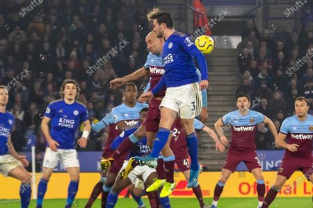 Pablo Zabaleta (5) beats Ben Chilwell (3) to the ball during the Premier League match between Leicester City and West Ham United at the King Power Stadium, Leicester