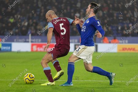 Pablo Zabaleta (5) gets the better of Ben Chilwell (3) during the Premier League match between Leicester City and West Ham United at the King Power Stadium, Leicester