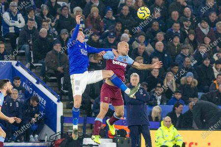 Leicester's Harvey Barnes (15) & West Ham's Pablo Zabaleta (5) challenge for the ball during the Premier League match between Leicester City and West Ham United at the King Power Stadium, Leicester