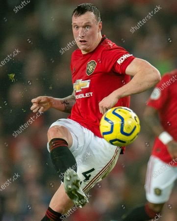 Manchester United's Phil Jones in action during the English Premier League soccer match between Manchester United and Burnley FC at Old Trafford in Manchester, Britain, 22 January 2020.