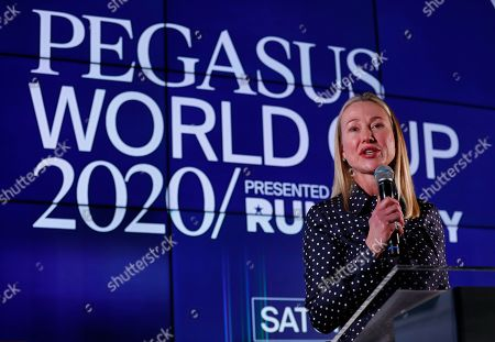 Belinda Stronach, Irad Ortiz Jr., Bricks and Mortar. Belinda Stronach, chairman and president of the Stronach Group, speaks during the draw for the Pegasus World Cup Horse Race, in Hallandale Beach, Fla. The race will run Saturday, Jan. 25 at Gulfstream Park in Hallandale Beach