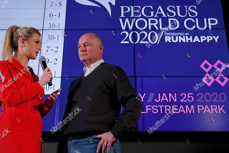 Richard Mandella, Acacia Courtney, Irad Ortiz Jr., Bricks and Mortar. Race horse Omaha Beach's trainer Richard Mandella, right, is interviewed by racing analyst Acacia Courtney during the draw for the Pegasus World Cup Horse Race, in Hallandale Beach, Fla. The race will run Saturday, Jan. 25 at Gulfstream Park in Hallandale Beach