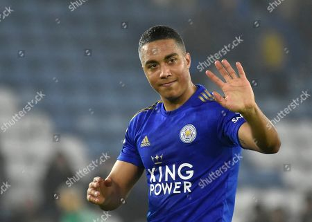Leicester's Youri Tielemans waves to supporters at the end of the the English Premier League soccer match between Leicester City and West Ham Utd at the King Power Stadium in Leicester, England