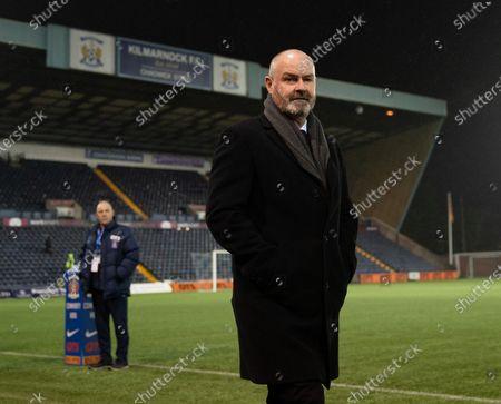 Scotland Manager Steve Clarke, former Kilmarnock Manager arrives trackside Rugby Park.