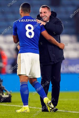 Leicester City's manager Brendan Rogers (R) and Youri Tielemans (L) react after the English Premier League soccer match between Leicester City and West Ham United at the King Power stadium in Leicester, Britain, 22 January 2020.