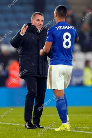 Leicester City's manager Brendan Rogers (L) and Youri Tielemans (R) react after the English Premier League soccer match between Leicester City and West Ham United at the King Power stadium in Leicester, Britain, 22 January 2020.
