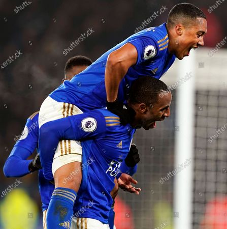 Leicester City's Ricardo Pereira (bottom) celebrates with teammate Youri Tielemans (up) after scoring the 2-0 lead during the English Premier League soccer match between Leicester City and West Ham United at the King Power stadium in Leicester, Britain, 22 January 2020.