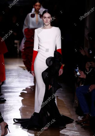 Stock Picture of Models presents creations from the Spring/Summer 2020 Haute Couture collection by Italian designer Pier Paolo Piccioli for Valentino fashion house during the Paris Fashion Week, in Paris, France, 22 January 2020. The presentation of the Haute Couture collections runs from 20 to 23 January 2020.