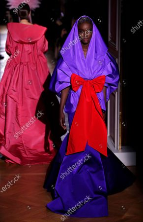 Stock Image of Models presents creations from the Spring/Summer 2020 Haute Couture collection by Italian designer Pier Paolo Piccioli for Valentino fashion house during the Paris Fashion Week, in Paris, France, 22 January 2020. The presentation of the Haute Couture collections runs from 20 to 23 January 2020.