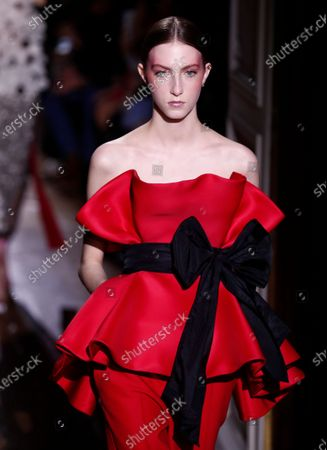 A model presents a creation from the Spring/Summer 2020 Haute Couture collection by Italian designer Pier Paolo Piccioli for Valentino fashion house during the Paris Fashion Week, in Paris, France, 22 January 2020. The presentation of the Haute Couture collections runs from 20 to 23 January 2020.