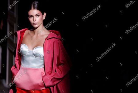 US model Kaia Gerber presents a creation from the Spring/Summer 2020 Haute Couture collection by Italian designer Pier Paolo Piccioli for Valentino fashion house during the Paris Fashion Week, in Paris, France, 22 January 2020. The presentation of the Haute Couture collections runs from 20 to 23 January 2020.